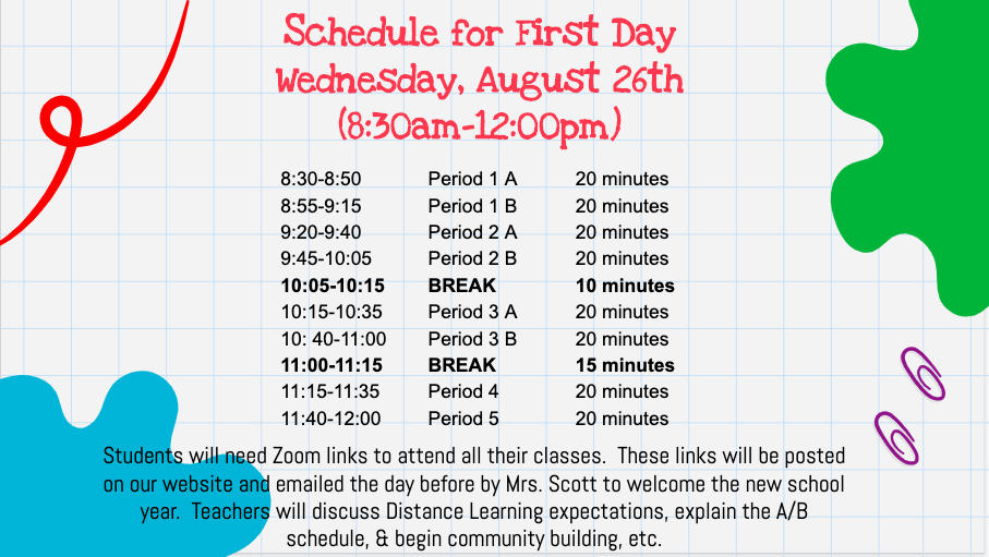 schedule for first day